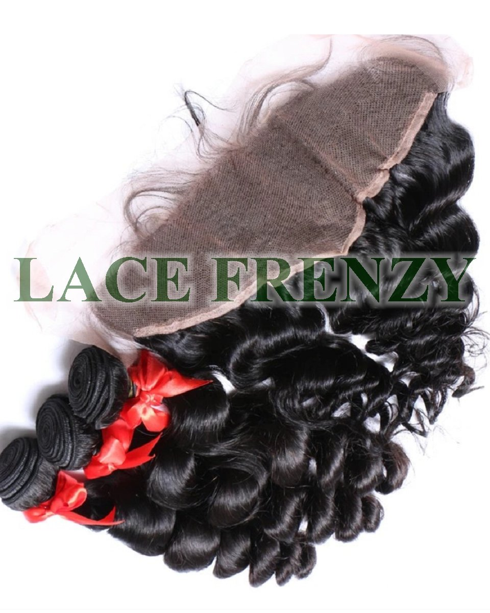 Peruvian Virgin Hair -Loose Wave - 13X4 Inches Lace Frontal & 300G Machine Weft Bundle Kit