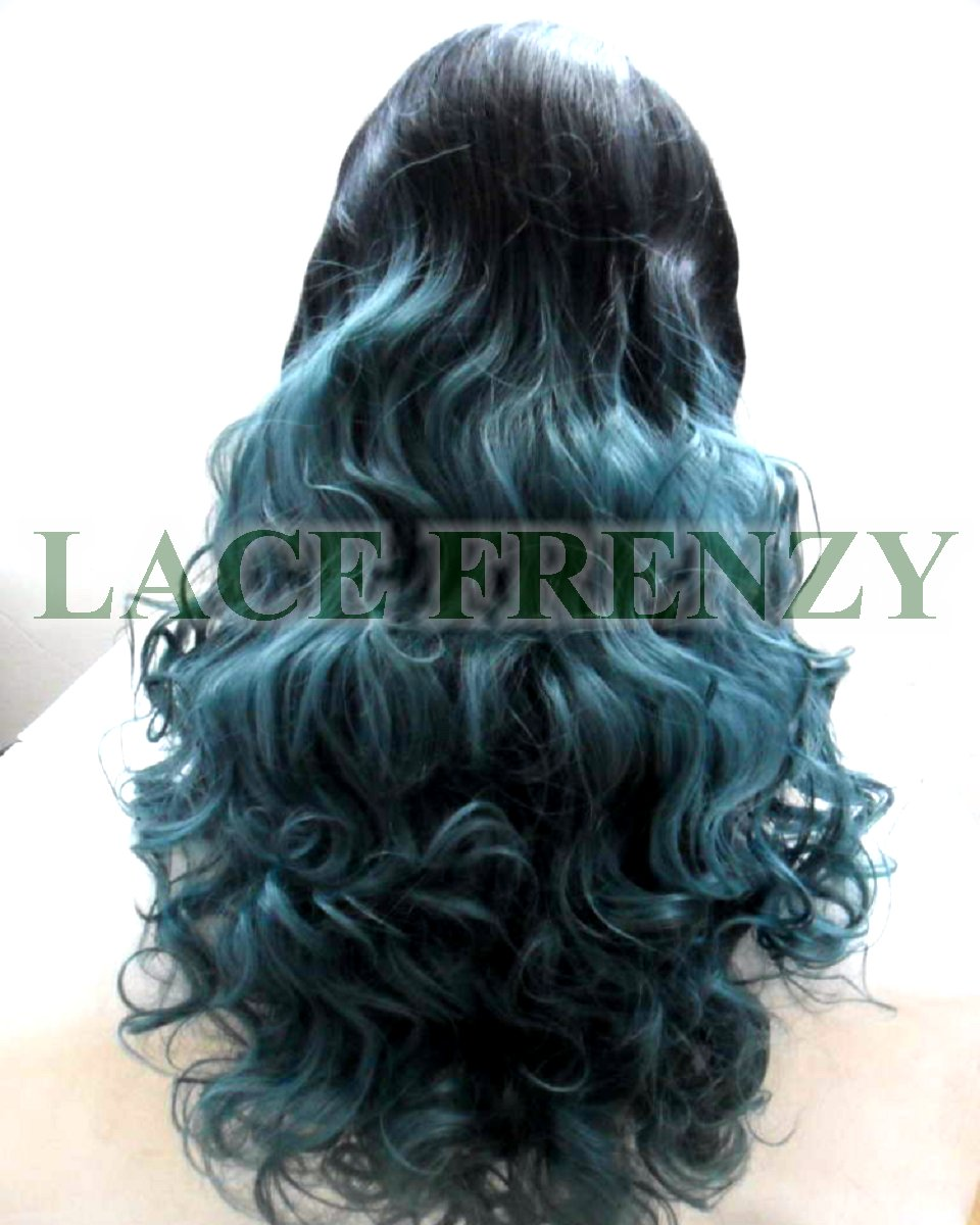Hunter- Body Curls- Ombre' Green - Lace Front Wig