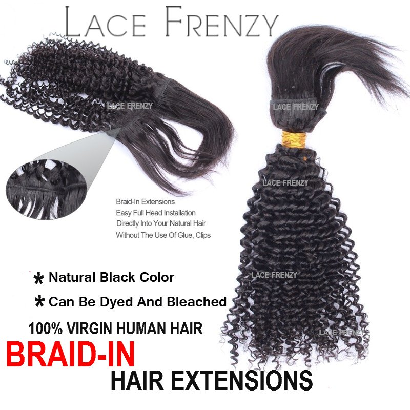 Grade 6a Virgin Hair Afro Kinky Braid In Bundle Lace Frenzy Wigs