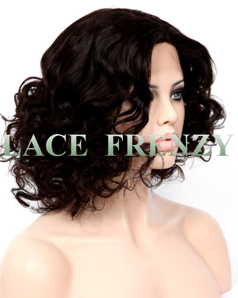 mandy 14 inches big curls indian remy hair silk top full lace wig