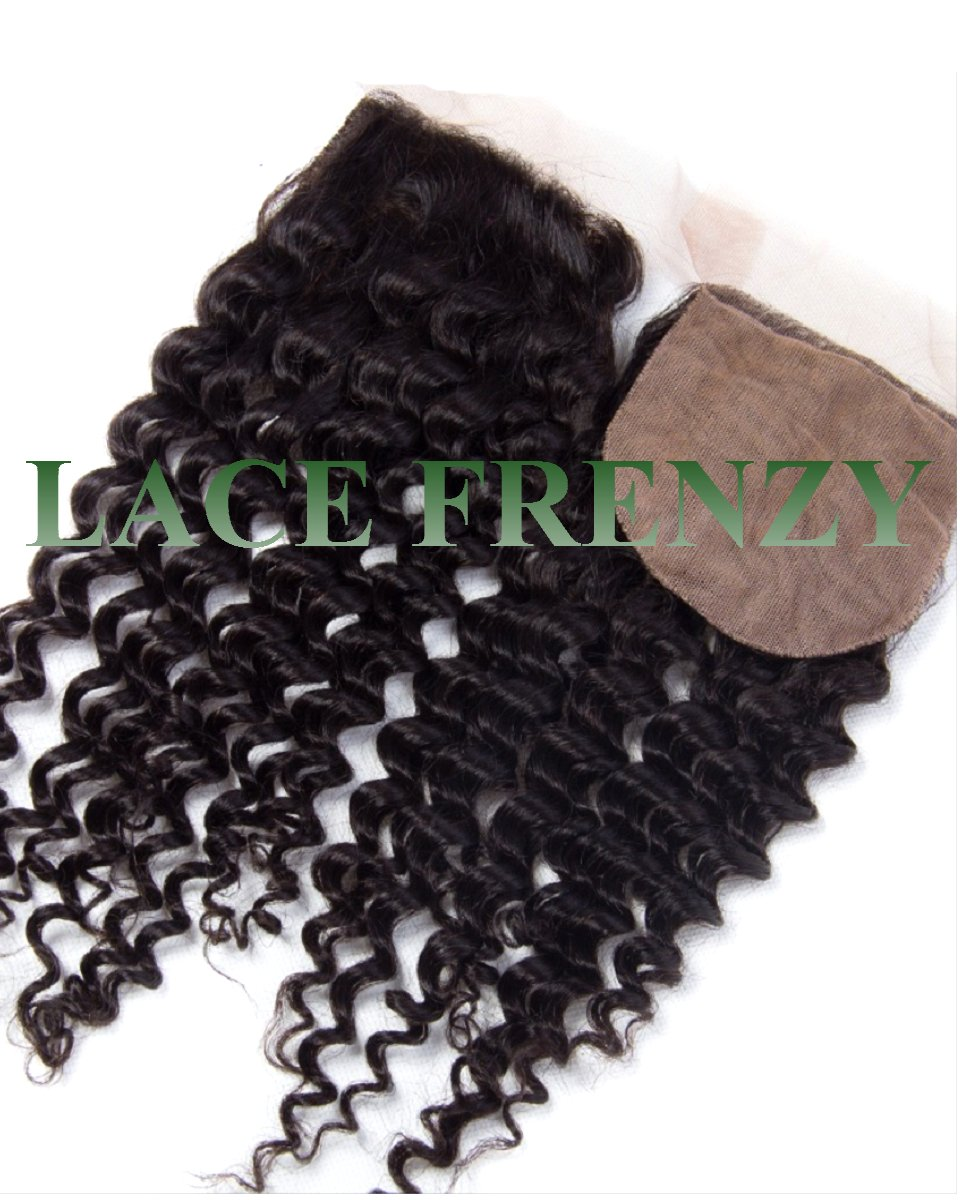 peruvian virgin hair- deep curly- 4x4 inches- silk top closure