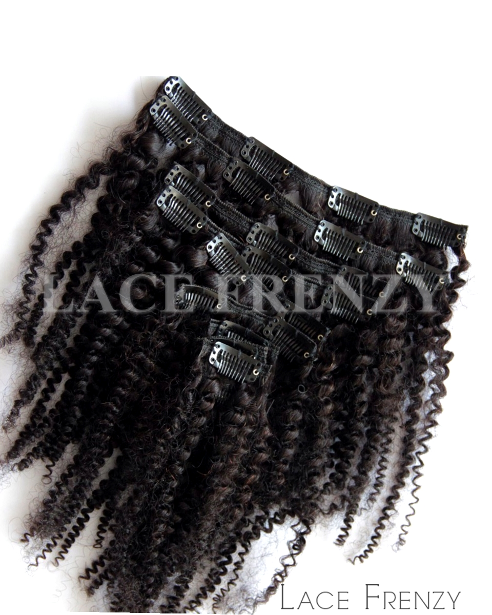 Virgin Human Hair Kinky Curly 8pcs Clip In Hair Extension