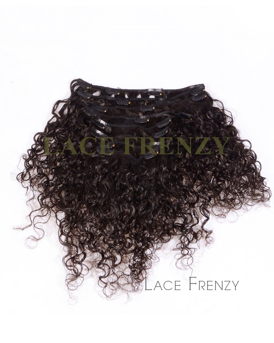 Virgin Human Hair Curly 8pcs Clip In Hair Extension