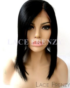 Evette - 12 Inches - Bob Styled Brazilian Virgin Hair- Silk Base Lace Front Wig