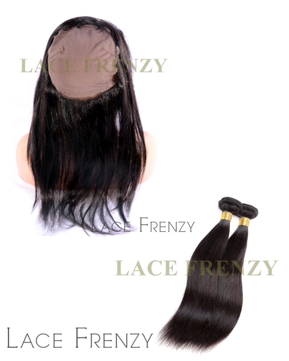 Virgin Human Hair -360 Lace Frontal with Cap and 2 Bundles