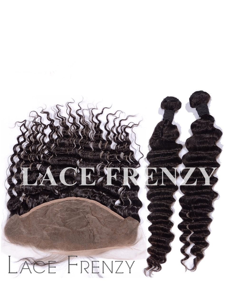 Indian Virgin Hair -Deep Wave-13x4 Inches Lace Frontal with Bundle Hair