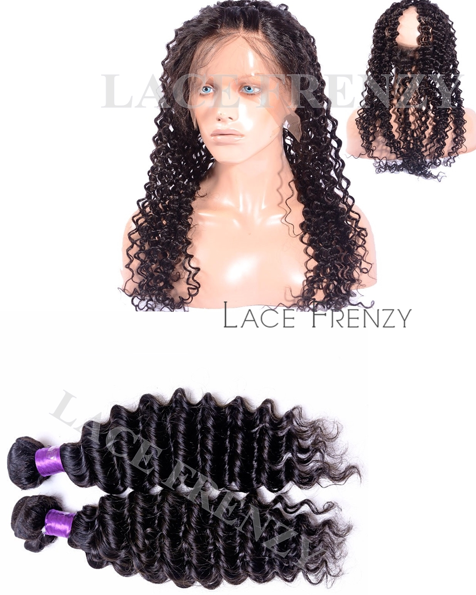 Deep Wave-Virgin Human Hair- Silk Base 360 Frontal w/2 Bundles