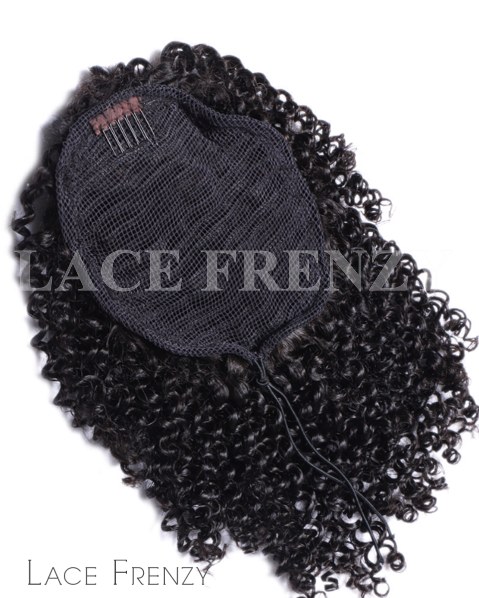 Virgin Human Hair - Kinky Curly - Drawstring Ponytail