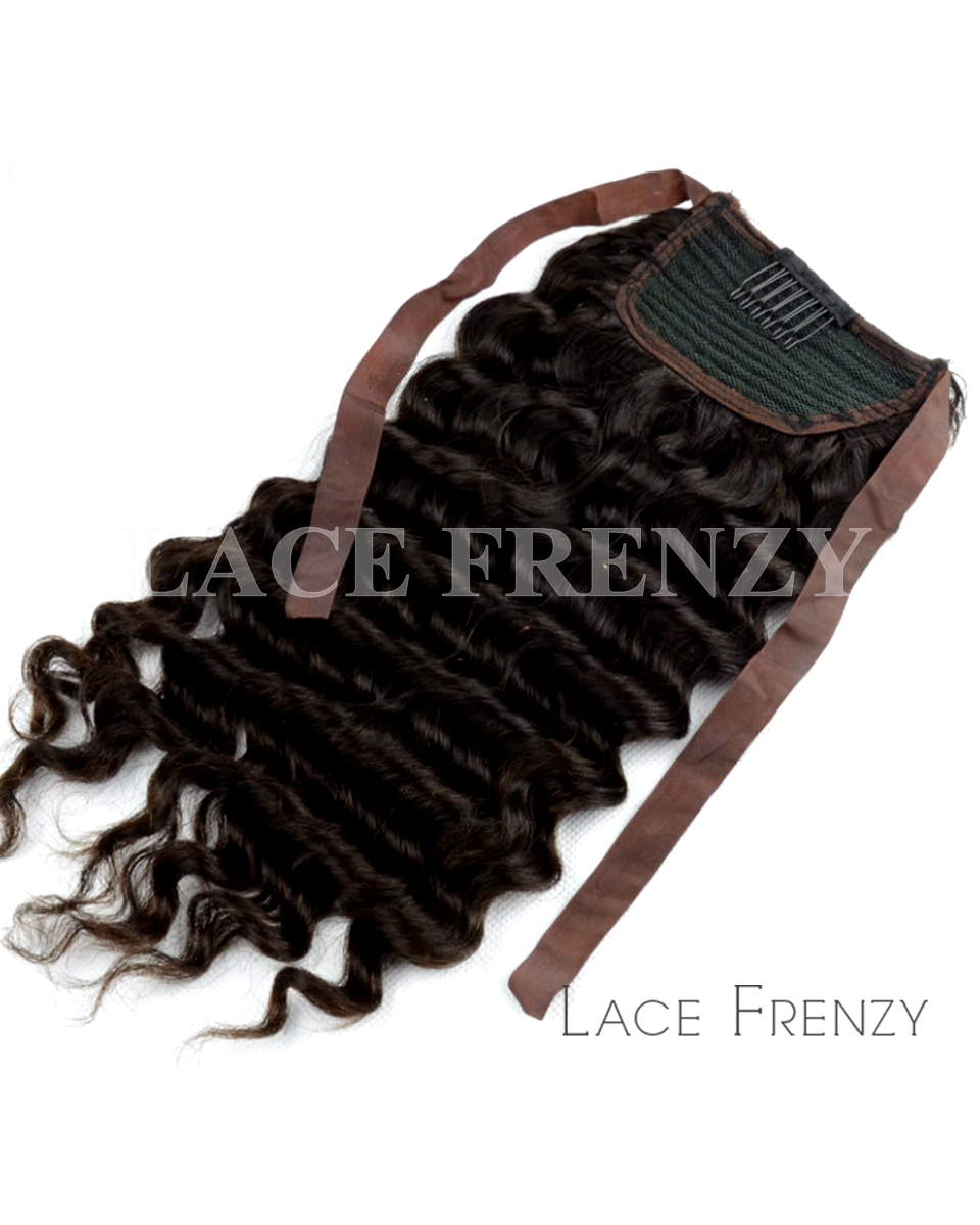 Virgin Human Hair Deep Wave Ponytail Hair Extension Lace