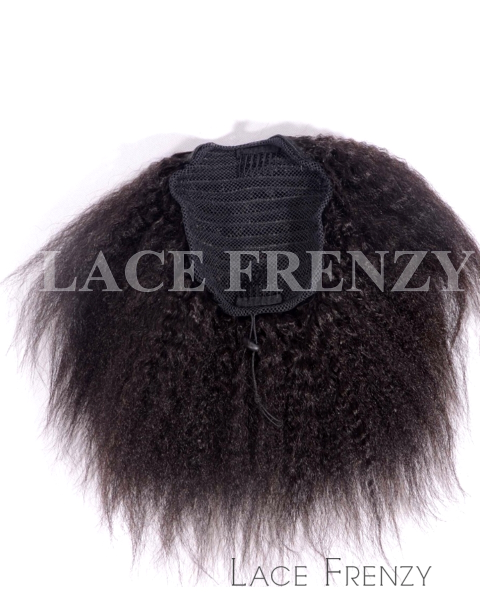 Virgin Human Hair - Afro Kinky Straight - Drawstring Ponytail