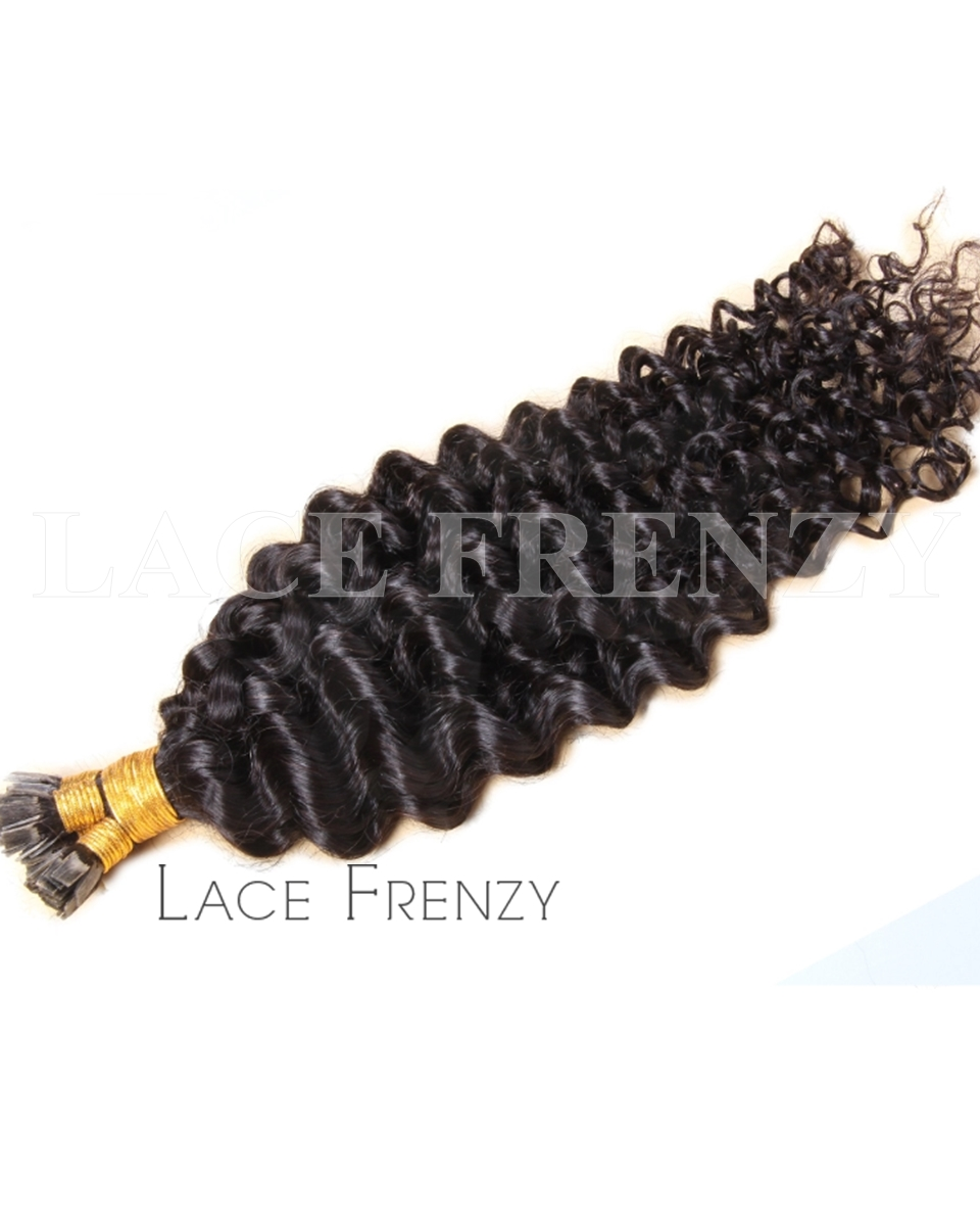 Deep Curly 100g Flat Tip Virgin Human Hair Extensions Lace Frenzy Wigs
