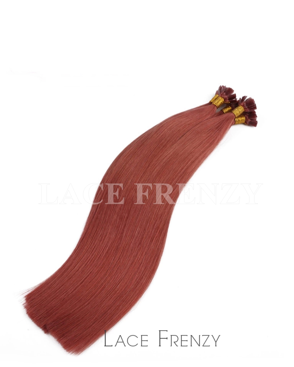 Straight 100g Flat Tip Human Hair Extensions Lace Frenzy Wigs
