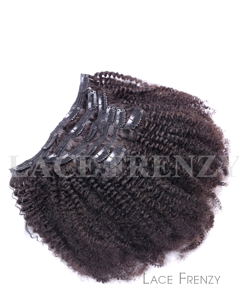 Virgin Human Hair Afro Kinky Curly 8pcs Clip In Hair Extension