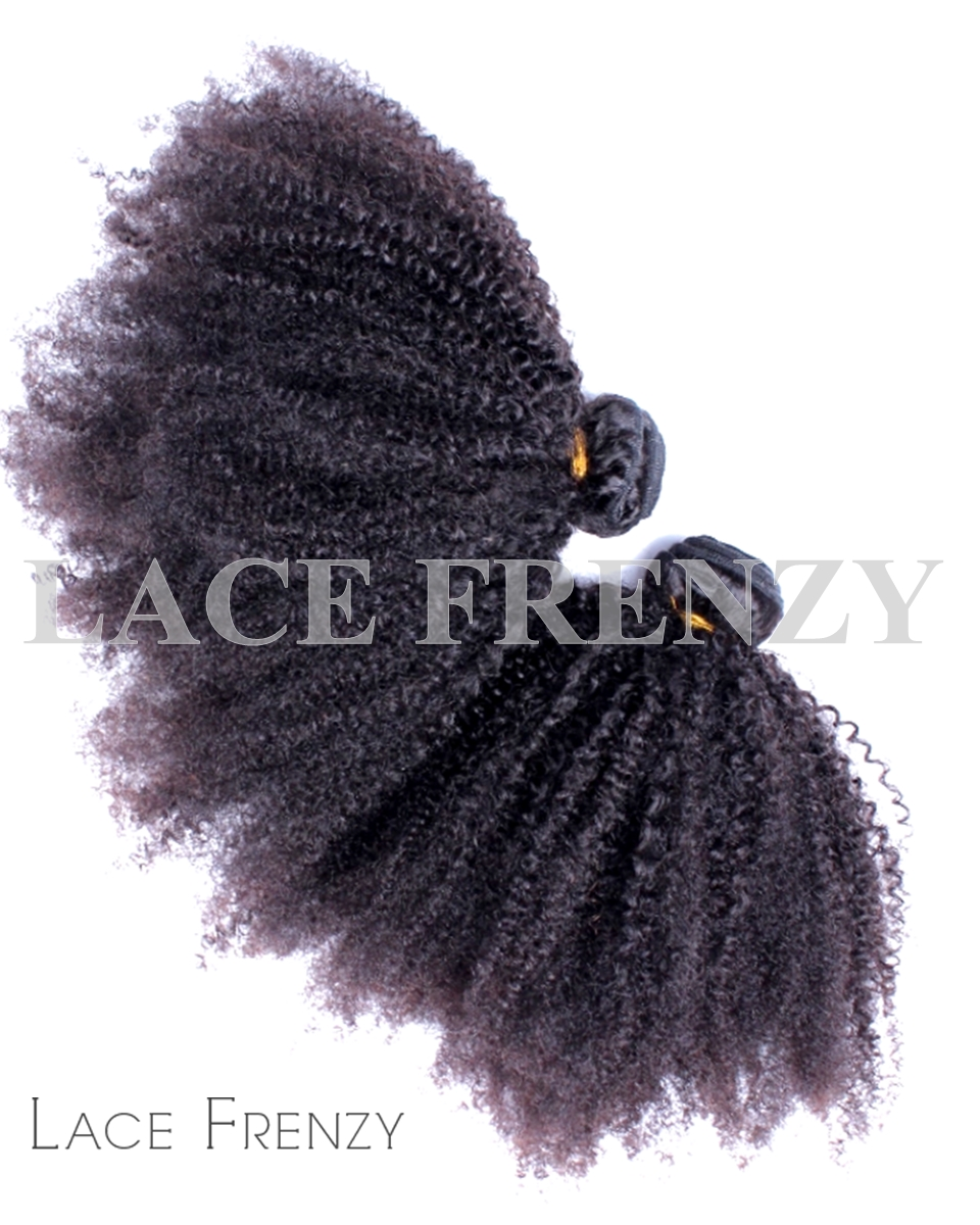 Peruvian Virgin Hair - Kinky Afro Curl - 200G Machine Weft Bundle Kit