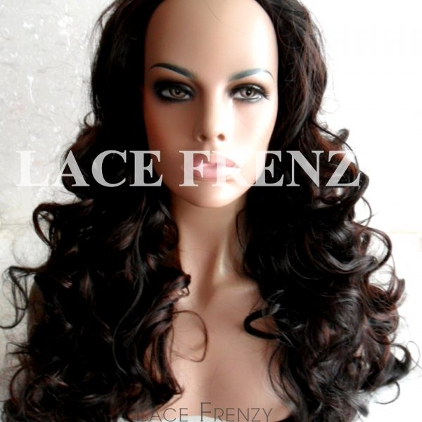 Body Curls With Highlights 22 Inches 3 4 Synthetic Machine