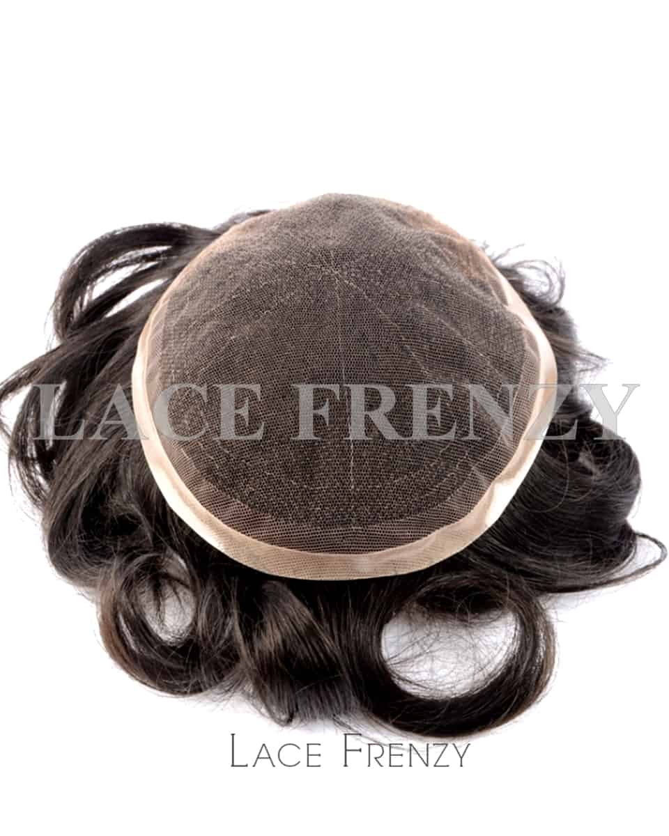 Indian Hair 8x10 Inches French Lace with Thin Skin Men Toupee