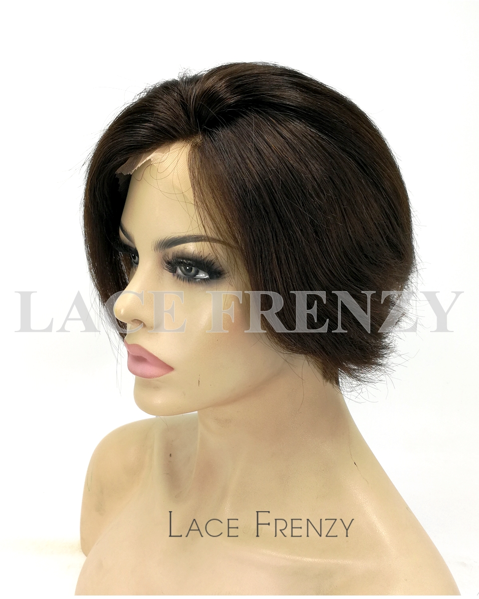 Karen - 8 Inches Crop Cut Indian Remy Hair Lace Front Wig