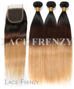 Peruvian Virgin Hair 3 Toned 4x4 Inches Top Closure and 300G- Layered Machine Weft Bundle Kit